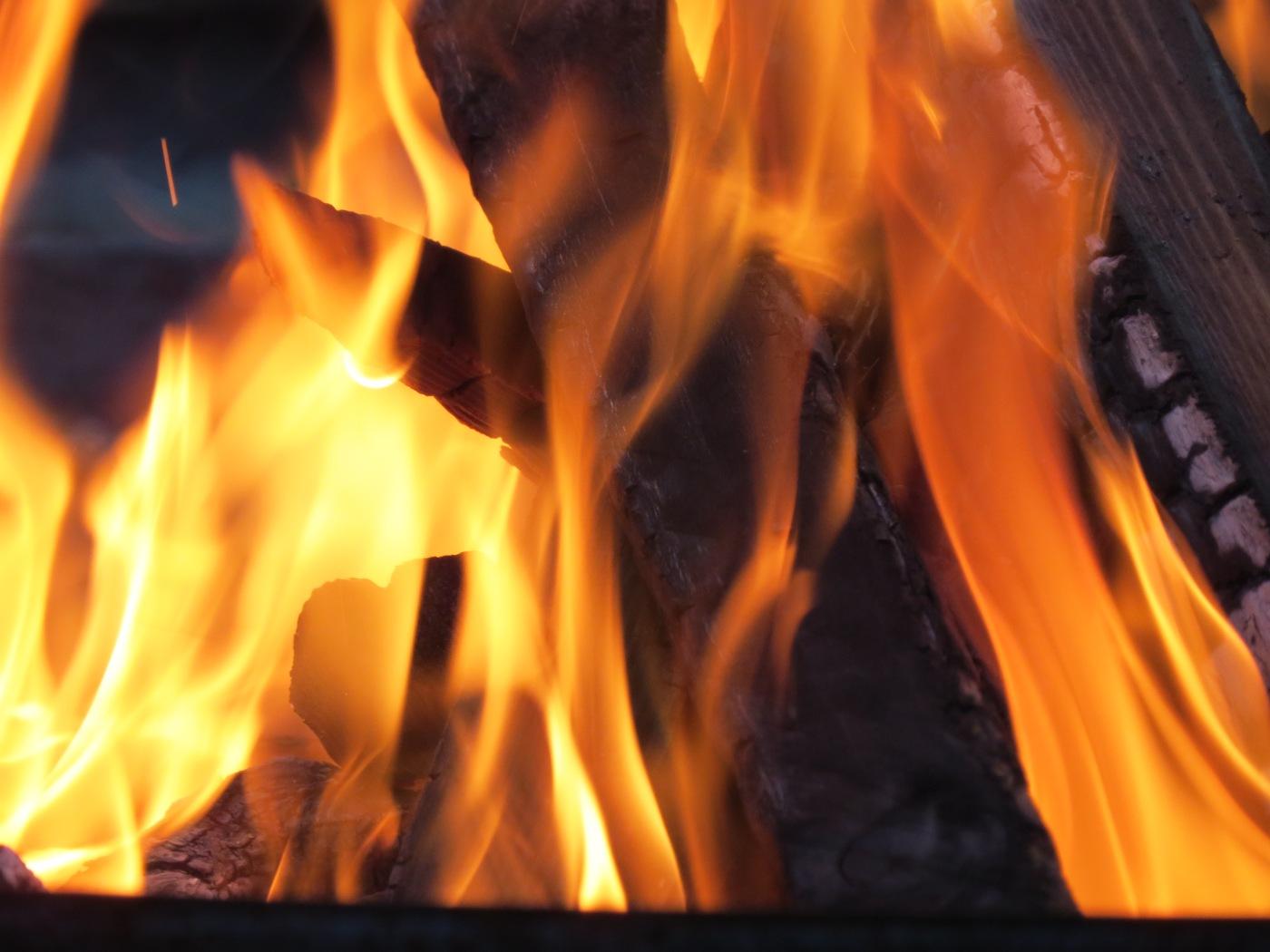 close up of a bonfire flame