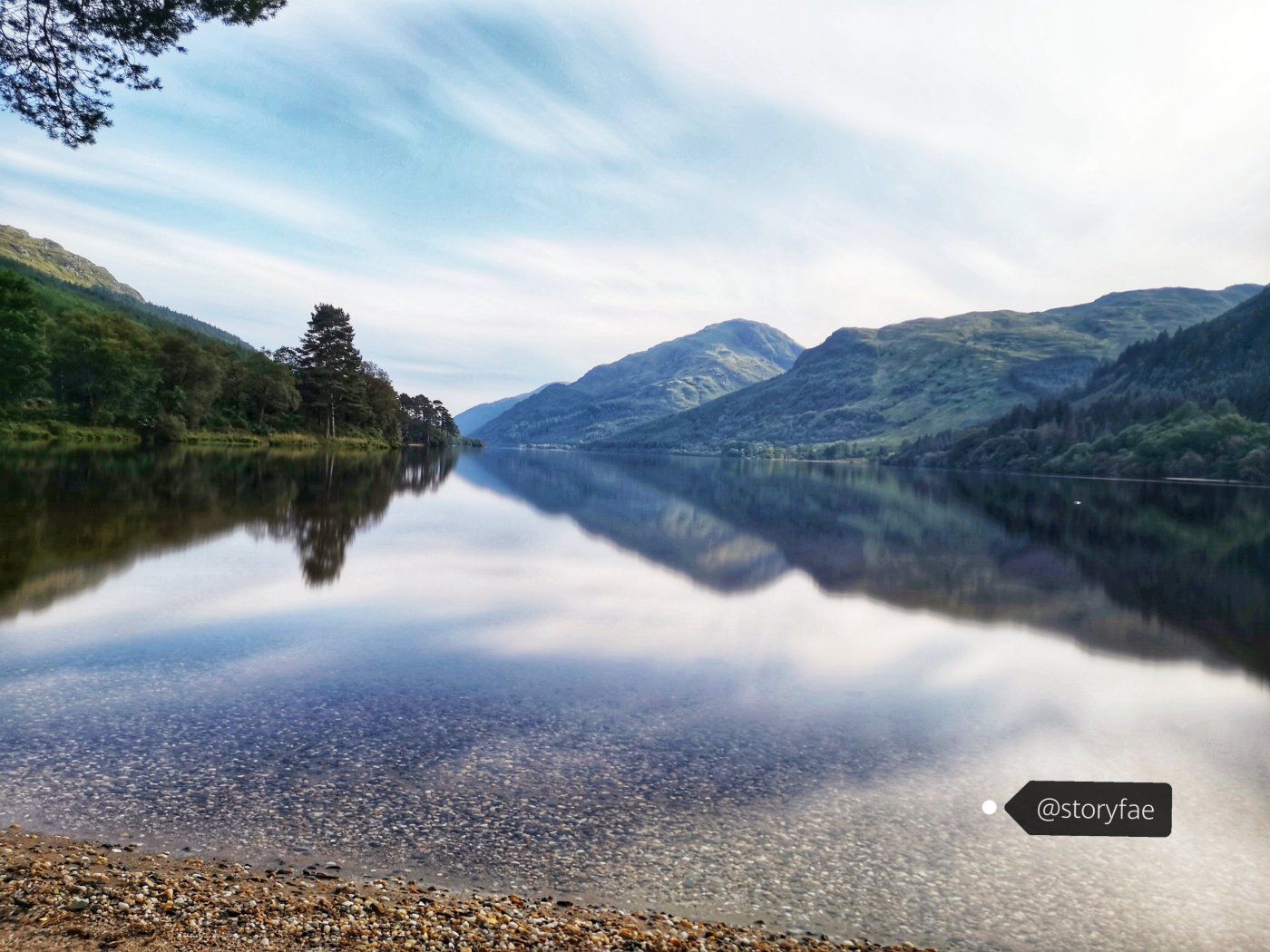 view over loch Eck and a chain of hills